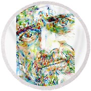 Terence Mckenna Watercolor Portrait.1 Round Beach Towel