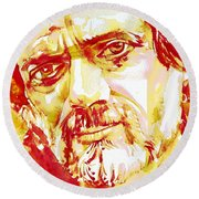 Terence Mckenna Watercolor Portrait.2 Round Beach Towel