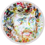 Terence Mckenna - Watercolor Portrait.3 Round Beach Towel