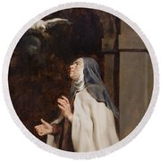 Teresa Of Avilas Vision Of A Dove Round Beach Towel