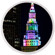 Terminal Tower Rainbow Round Beach Towel