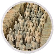 Terra Cotta Warriors Round Beach Towel