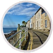 Terraced Cottages At Mousehole Round Beach Towel