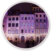 Terraced Historic Houses At Night In Warsaw Round Beach Towel