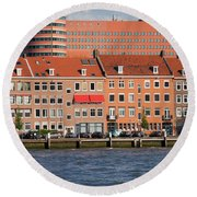 Terraced Houses In Rotterdam City Centre Round Beach Towel