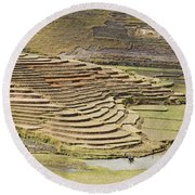 Terraces And Paddy Fields Round Beach Towel