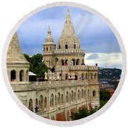 Terraces And Towers Of Fishermans Bastion Round Beach Towel