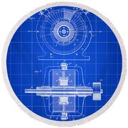 Tesla Alternating Electric Current Generator Patent 1891 - Blue Round Beach Towel