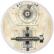 Tesla Alternating Electric Current Generator Patent 1891 - Vintage Round Beach Towel