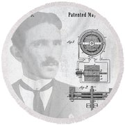 Tesla And The Electro Magnetic Motor Patent Round Beach Towel