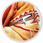 Teton Dacota Indian Woman Detail Round Beach Towel