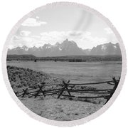Teton Landscape With Fence - Black And White Round Beach Towel