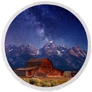 Teton Nights Round Beach Towel by Darren  White