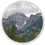 Teton Peaks Near Jenny Lake In Grand Teton National Park-wyoming- Round Beach Towel