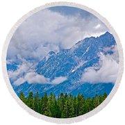 Teton Peaks Through Clouds In Grand Teton National Park-wyoming   Round Beach Towel