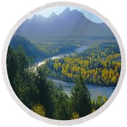 2m9301-teton Range From Snake River Overlook Round Beach Towel