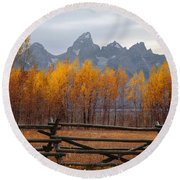 1m9354-teton Range In Autumn From Jackson Hole Ranch Country Round Beach Towel