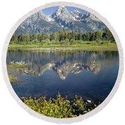 4m9310-teton Range Reflection, Blacktail Pond, Wy Round Beach Towel
