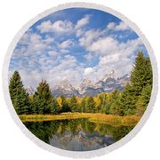 Teton Reflections Round Beach Towel