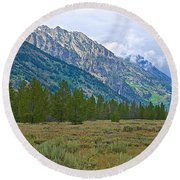 Tetons Above The Meadow In Grand Teton National Park-wyoming Round Beach Towel