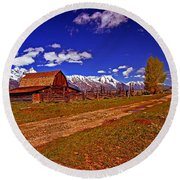Tetons And Gambrel Barn Perspective Round Beach Towel