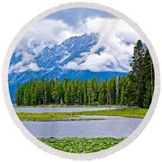 Tetons From Heron Pond In Grand Teton National Park-wyoming Round Beach Towel