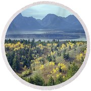 1m9209-tetons From Signal Mountain, Wy Round Beach Towel