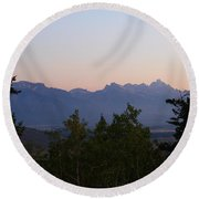 Tetons In The Morning Round Beach Towel