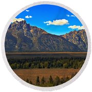 Tetons Mountians Round Beach Towel
