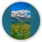 Tetons Peaks And Flowers Right Panel Round Beach Towel