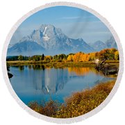 Tetons With Moose Round Beach Towel