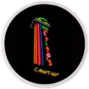 Tex Mex Cantina Neon Round Beach Towel