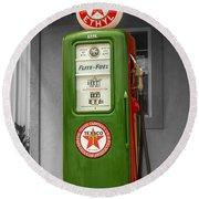 Texaco Gas Pump Round Beach Towel