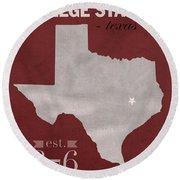 Texas A And M University Aggies College Station College Town State Map Poster Series No 106 Round Beach Towel