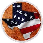 Texas American Flag Map Round Beach Towel