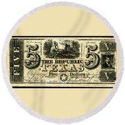 Texas Banknote, 1840 Round Beach Towel