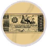 Texas Banknote, 1841 Round Beach Towel