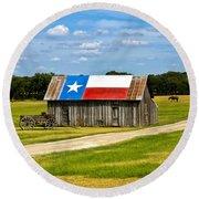 Texas Barn Flag Round Beach Towel