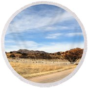 Texas Canyon In February Round Beach Towel