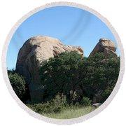 Texas Canyon Megaliths  Round Beach Towel