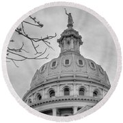 Texas Capital Dome In Monochrome Round Beach Towel