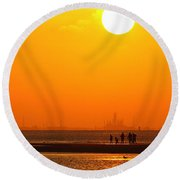 Texas City Sunset 2am-12561 Round Beach Towel