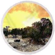 Texas Hill Country Round Beach Towel