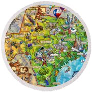 Texas Illustrated Map Round Beach Towel