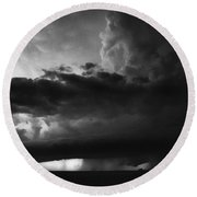 Texas Panhandle Supercell - Black And White Round Beach Towel