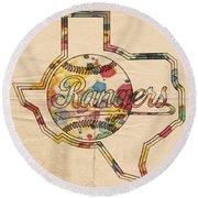 Texas Rangers Logo Vintage Round Beach Towel