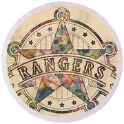 Texas Rangers Poster Art Round Beach Towel