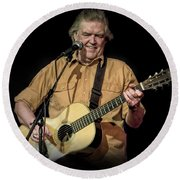 Texas Singer Songwriter Guy Clark In Concert Round Beach Towel