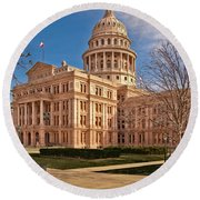 Texas State Capitol Building Round Beach Towel