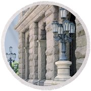 Texas State Capitol North Portico Round Beach Towel